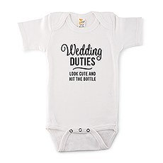 Cute Personalized White Baby Bodysuit - Wedding Duties