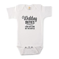 Cute Personalized White Baby Onesie - Wedding Duties