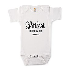 Cute Personalized White Baby Onesie - Littlest Bridesmaid