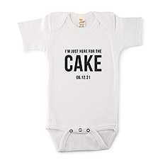 Cute Personalized White Baby Bodysuit - Here for the Cake