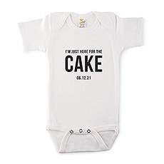 Cute Personalized White Baby Onesie - Here For The Cake