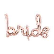 Rose Gold Mylar Foil Letter Balloon Decoration - Cursive Bride