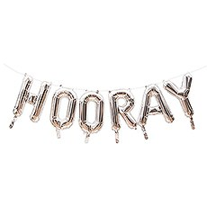 Silver Mylar Foil Letter Balloon Decoration - Hooray