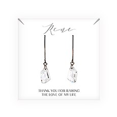 Personalized Swarovski Crystal Wedding Drop Earrings - Mother-In-Law Thank You