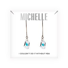 Personalized Swarovski Crystal Wedding Drop Earrings - Couldn't Do It Without You