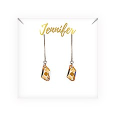 Personalized Swarovski Crystal Wedding Drop Earrings - Cursive