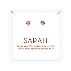 Swarovski Crystal Heart Stud Earrings - Thank You