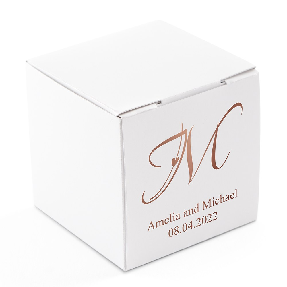 Miniature Custom Foil Printed Square Paper Favor Boxes - Decorative Initial Monogram