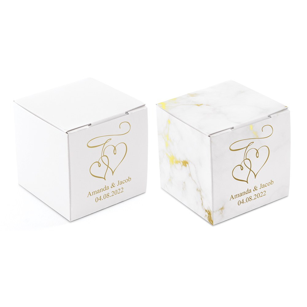 Miniature Custom Foil Printed Square Paper Favor Boxes - Double Hearts