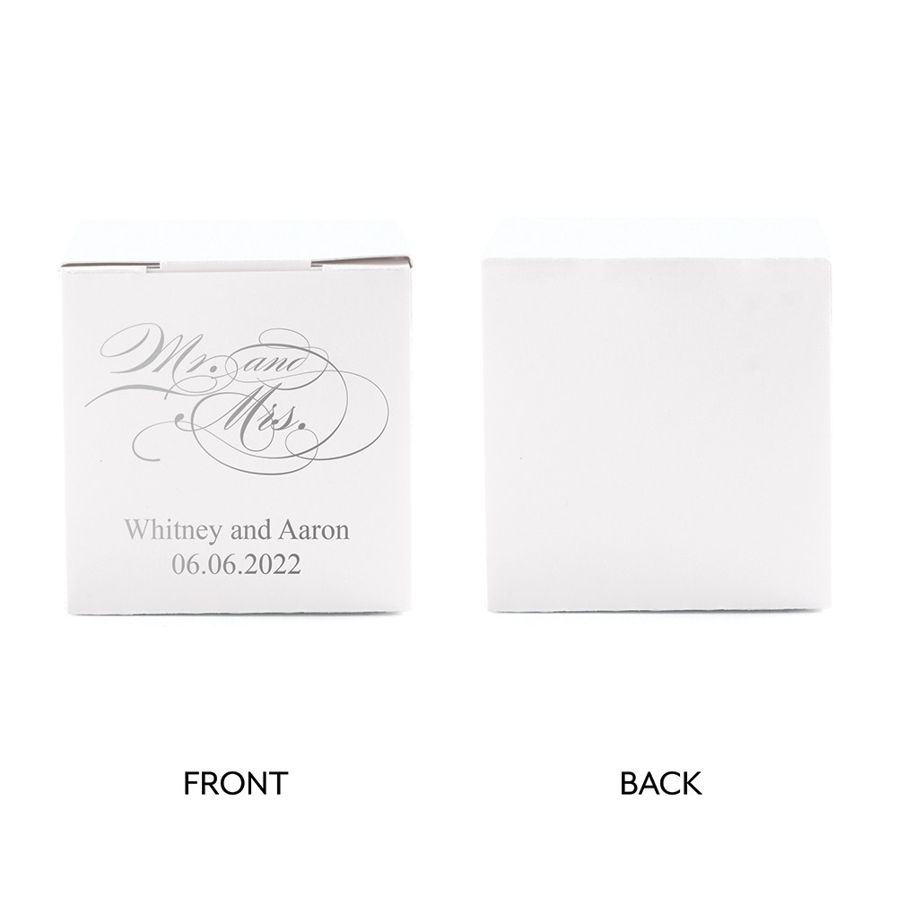 Miniature Custom Foil Printed Square Paper Favor Boxes - Mr & Mrs Script