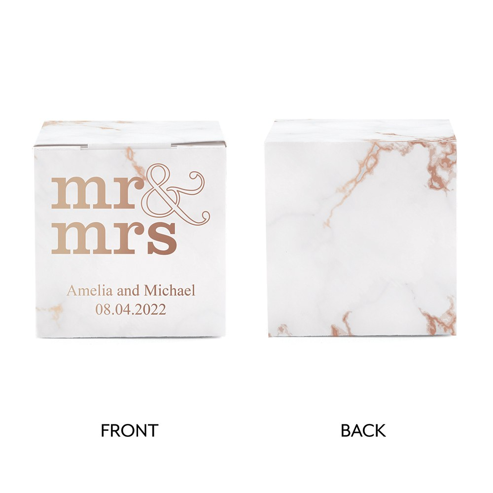 Miniature Custom Foil Printed Square Paper Favor Boxes - Mr & Mrs