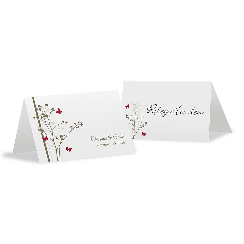 Romantic Butterfly Place Card With Fold