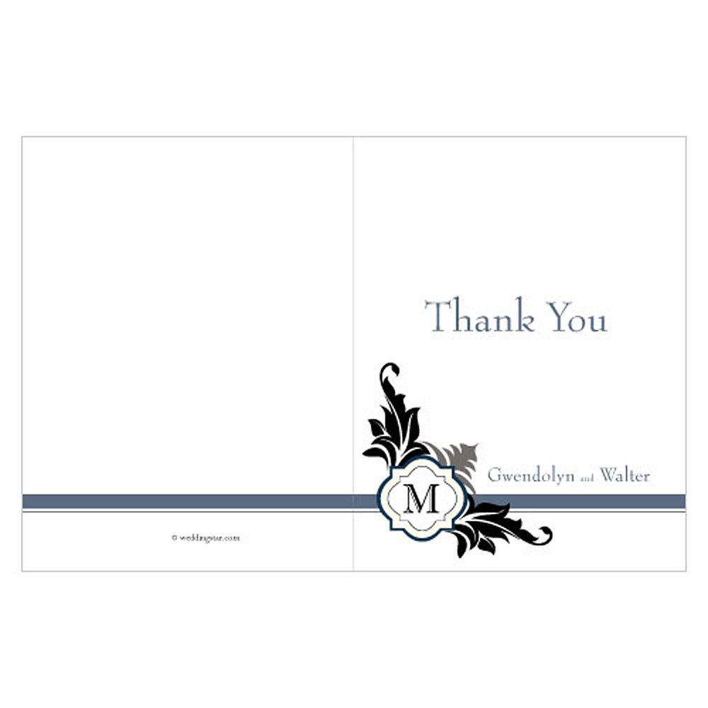 Lavish Monogram Wedding Thank You Card
