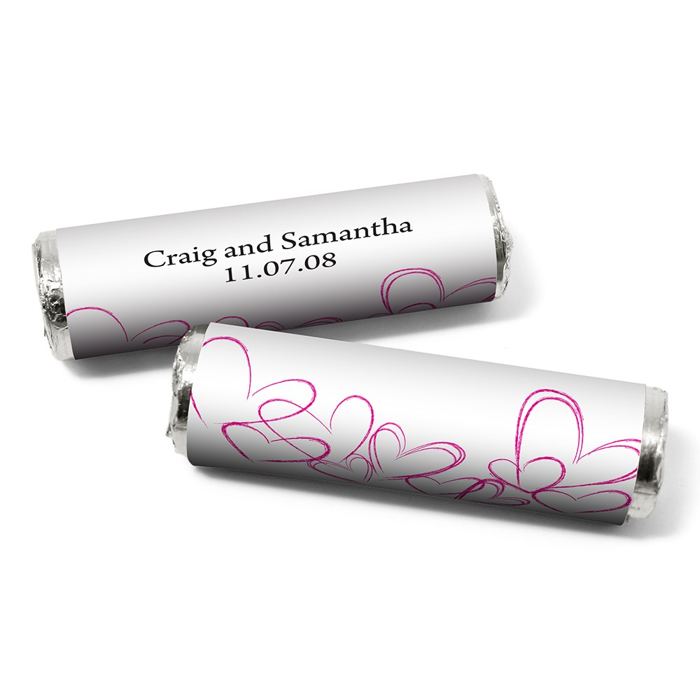 Contemporary Heart Personalized Wedding Candy Roll Wrap