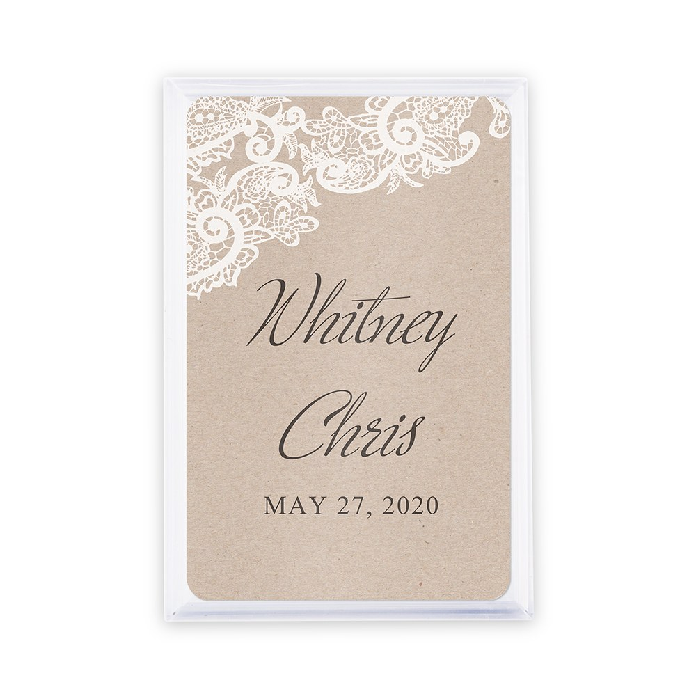 Unique Custom Playing Card Favors - Rustic Lace Medley