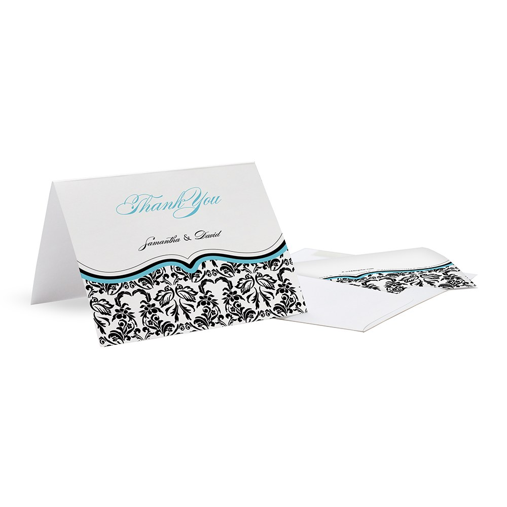 Love Bird Damask Wedding Thank You Card