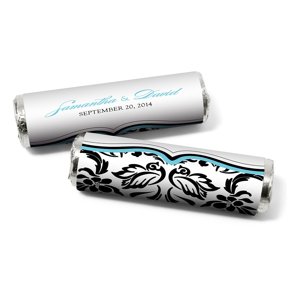 Love Bird Damask Personalized Wedding Candy Roll Wrap
