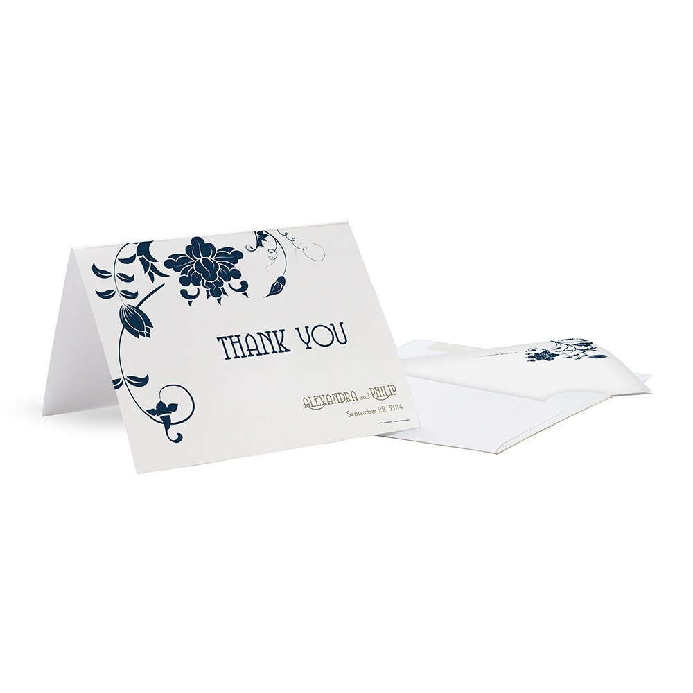 Floral Orchestra Wedding Thank You Card