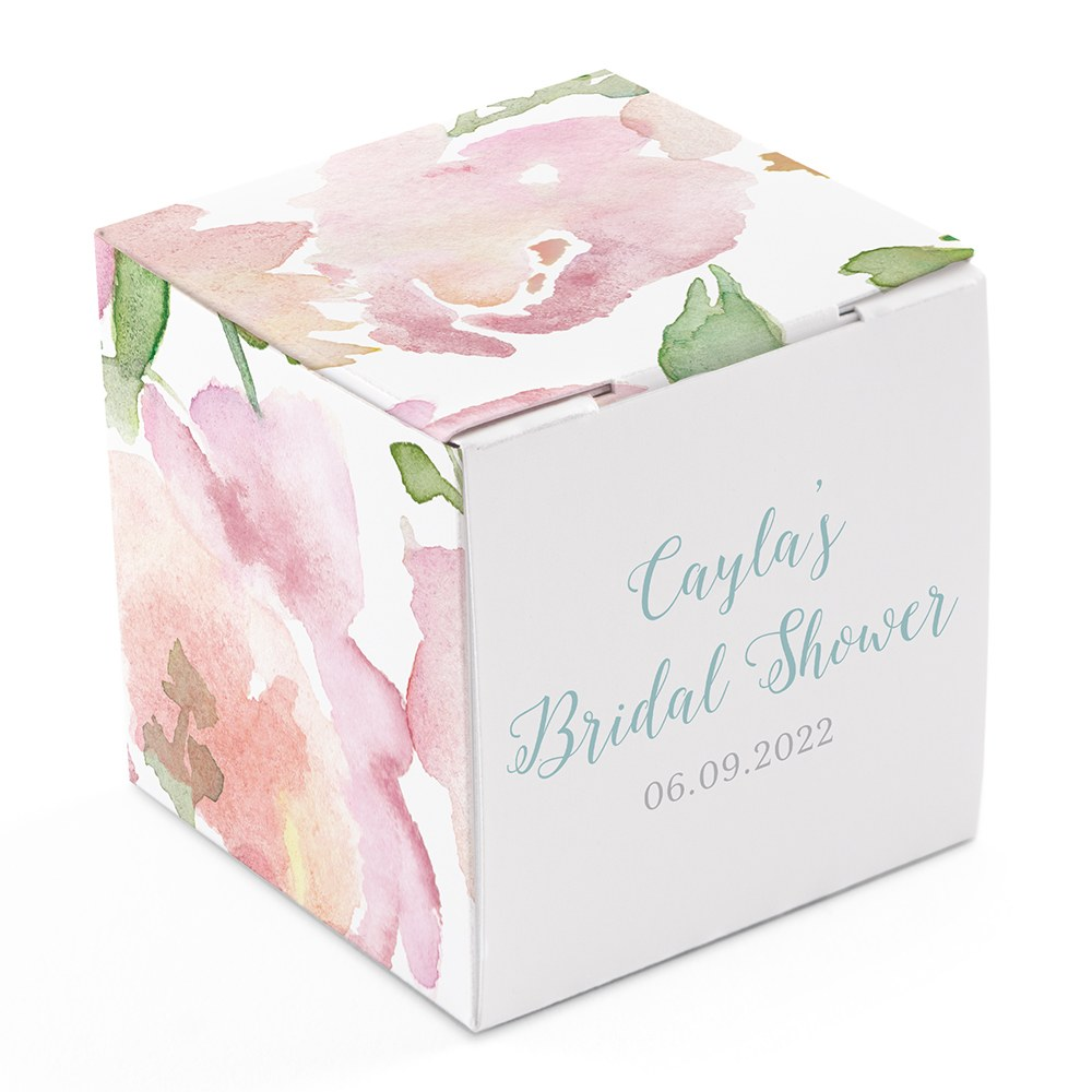 Miniature Custom Printed Square Paper Favor Boxes - Floral Garden Party