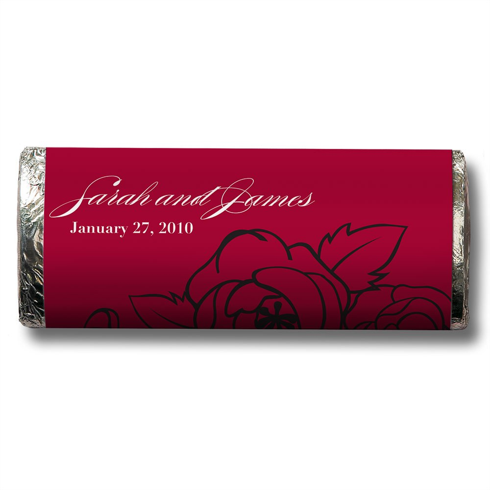 Red and White Botanical Chocolate Bar Wedding Favor