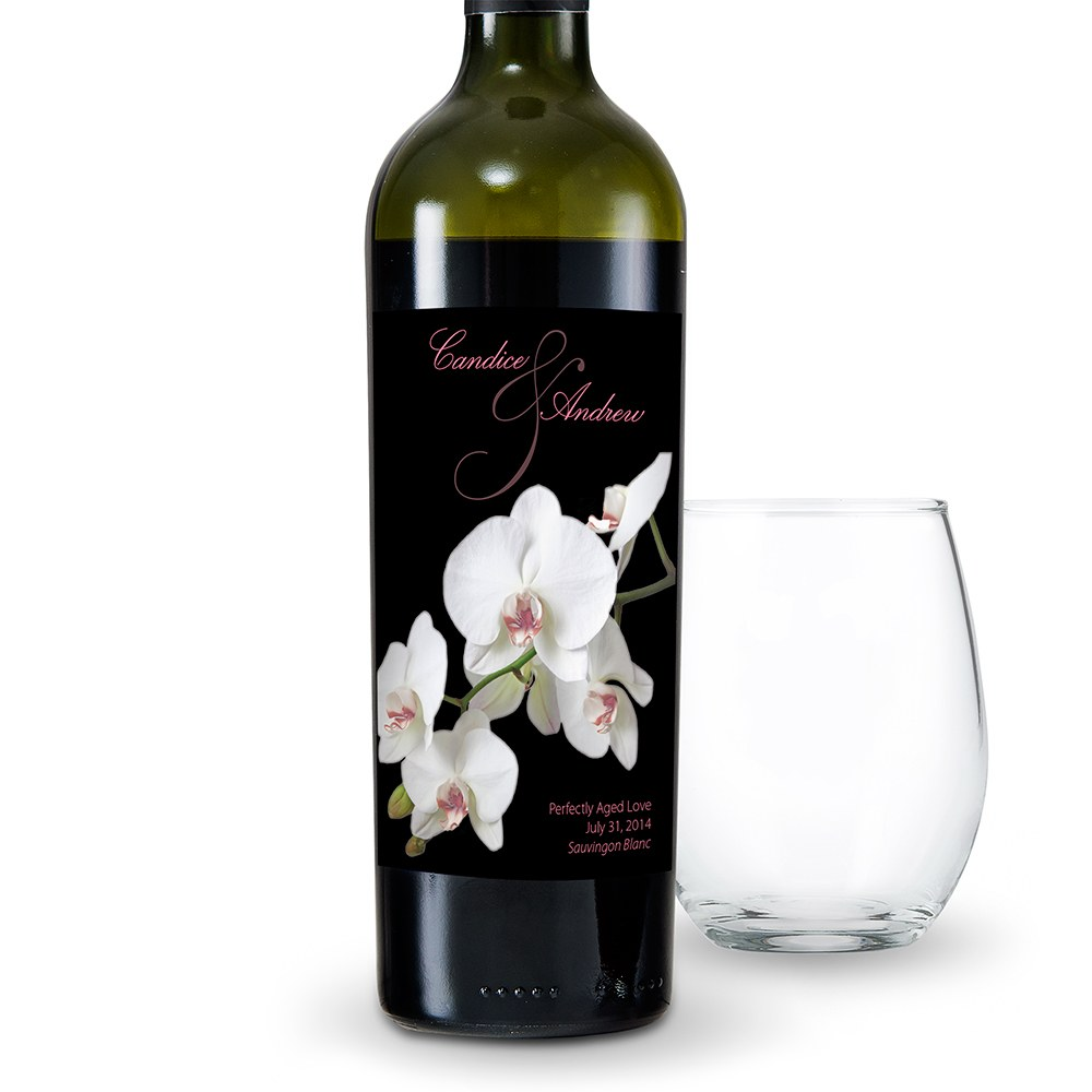 Classic Orchid Wedding Wine Label