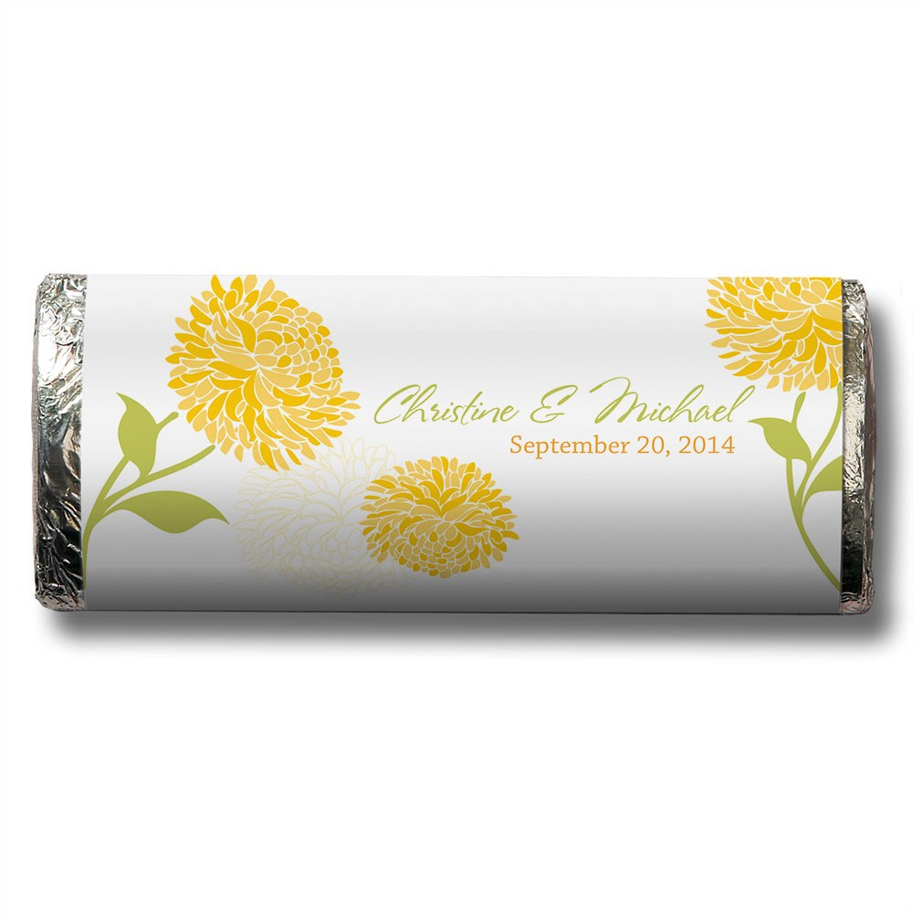 Zinnia Bloom Chocolate Bar Wedding Favor