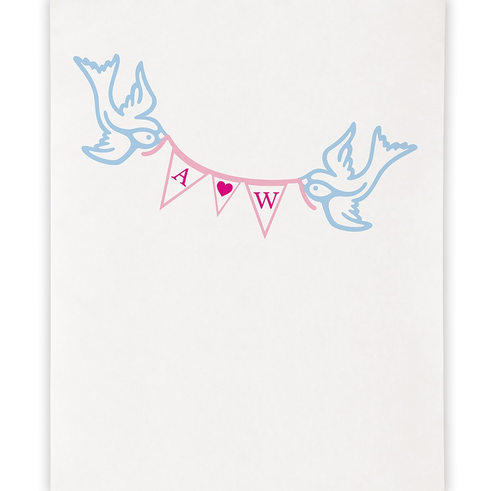 Birds with Love Pennant Personalized Wedding Photo Booth Backdrop