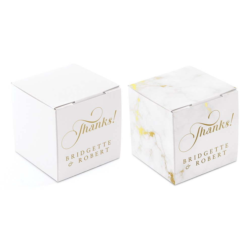 Miniature Custom Foil Printed Square Paper Favor Boxes - Expressions