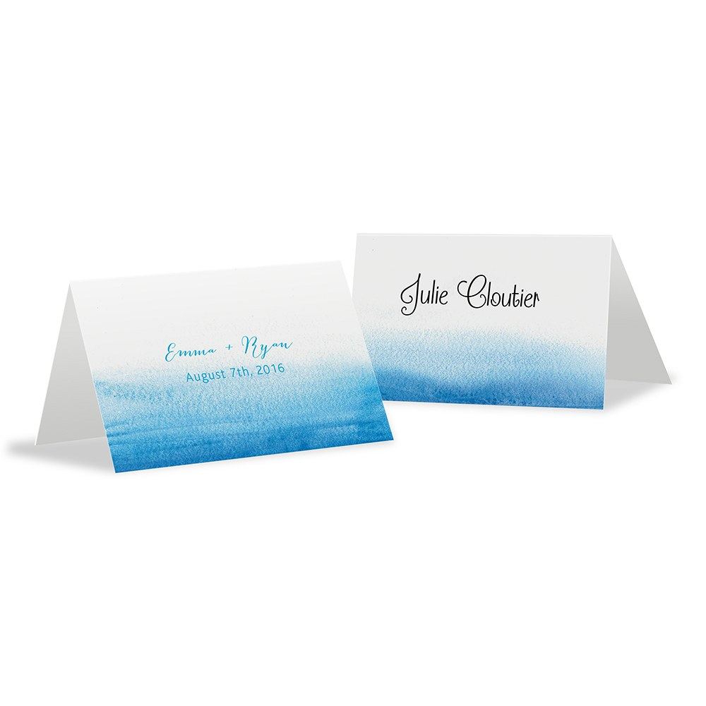 Aqueous Wedding Place Card With Fold