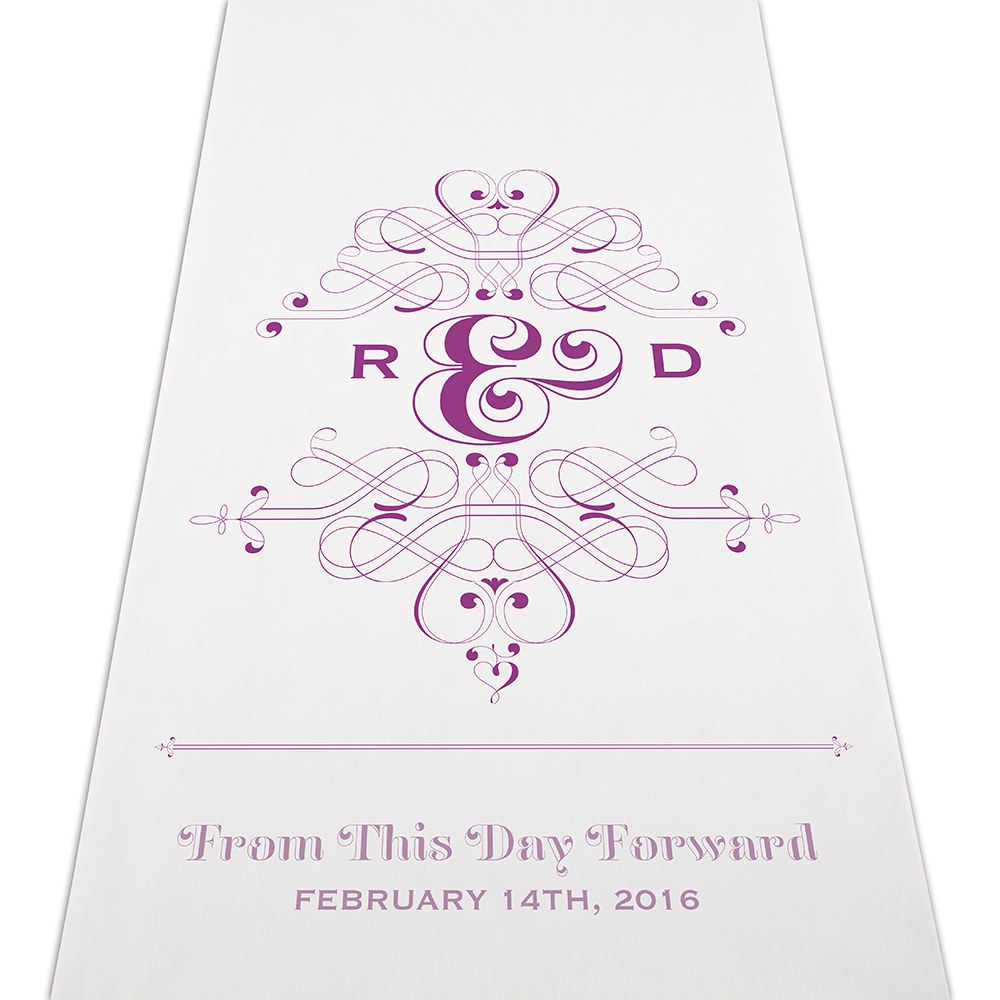 Fanciful Monogram Wedding Signature Personalized Wedding Aisle Runner