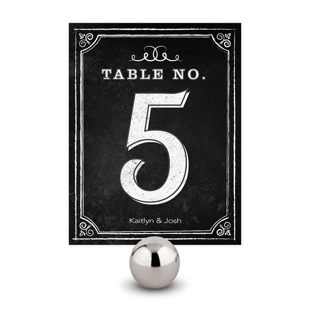 Table Numbers with Chalkboard Print Design
