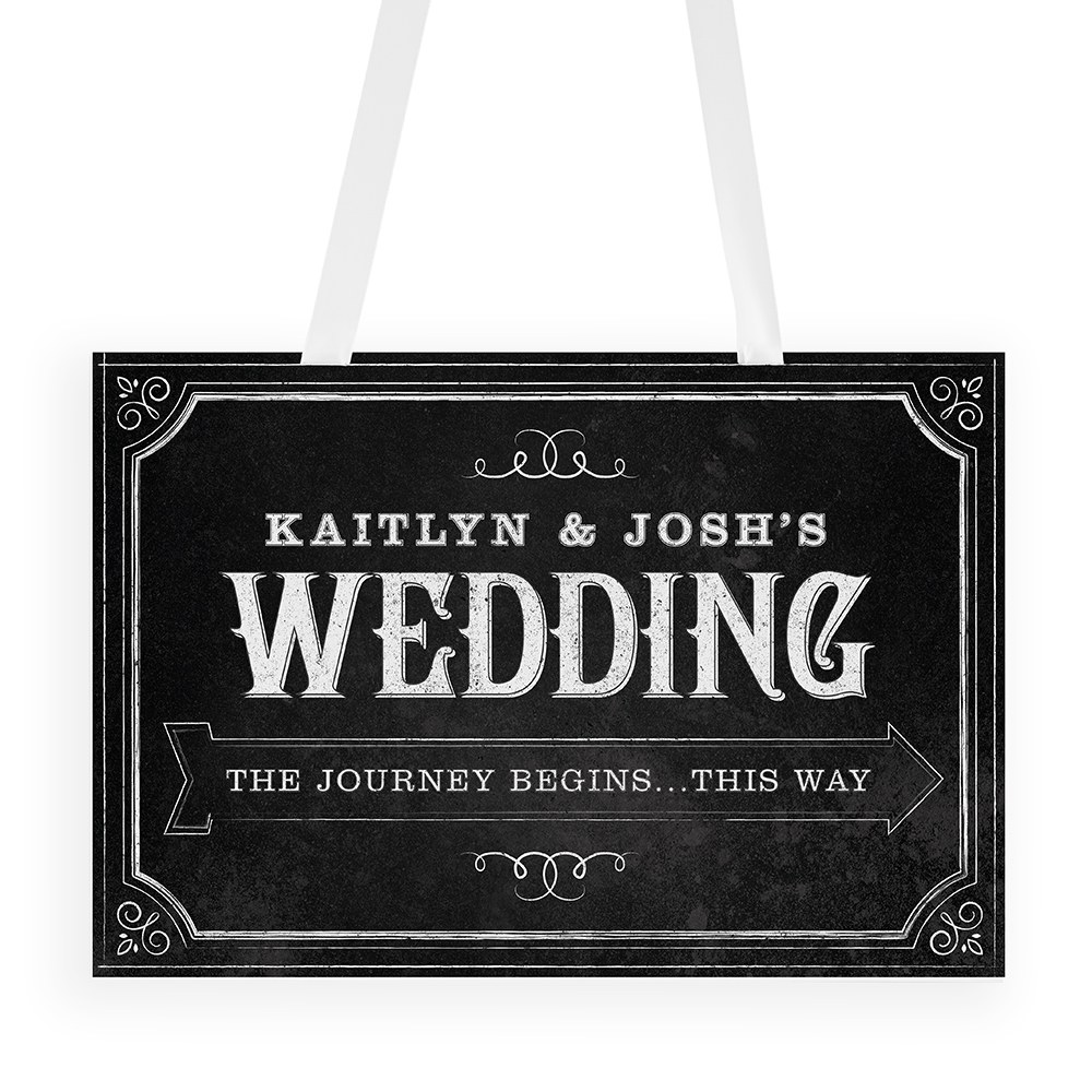 Directional Poster Sign with Chalkboard Print Design