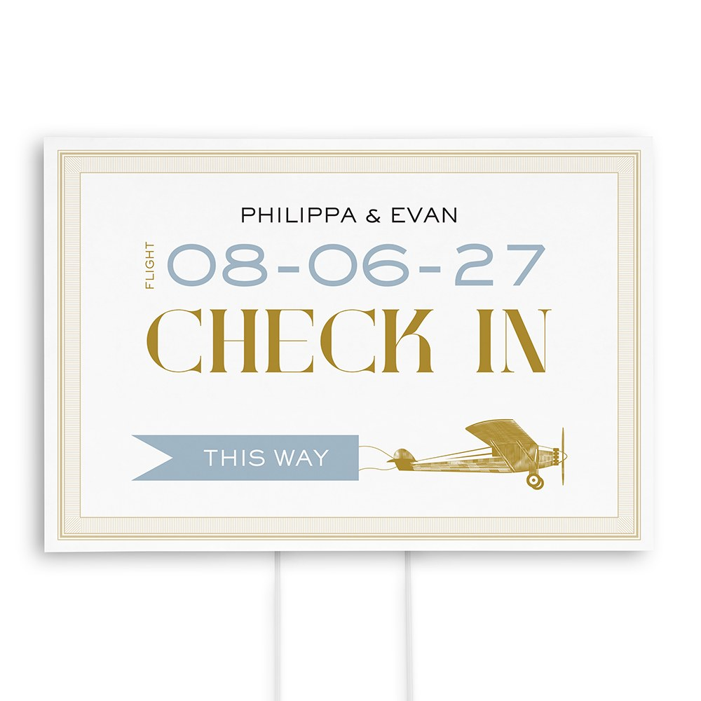 Vintage Travel Check In Directional Sign