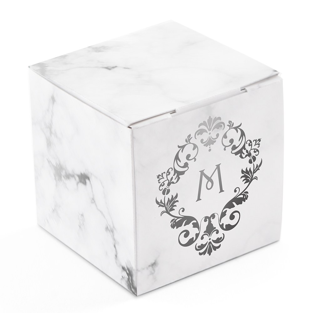 Miniature Custom Foil Printed Square Paper Favor Boxes - Classic Filigree Monogram