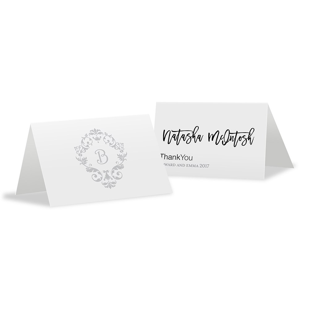 Monogram Simplicity Place Card With Fold   Classic Filigree