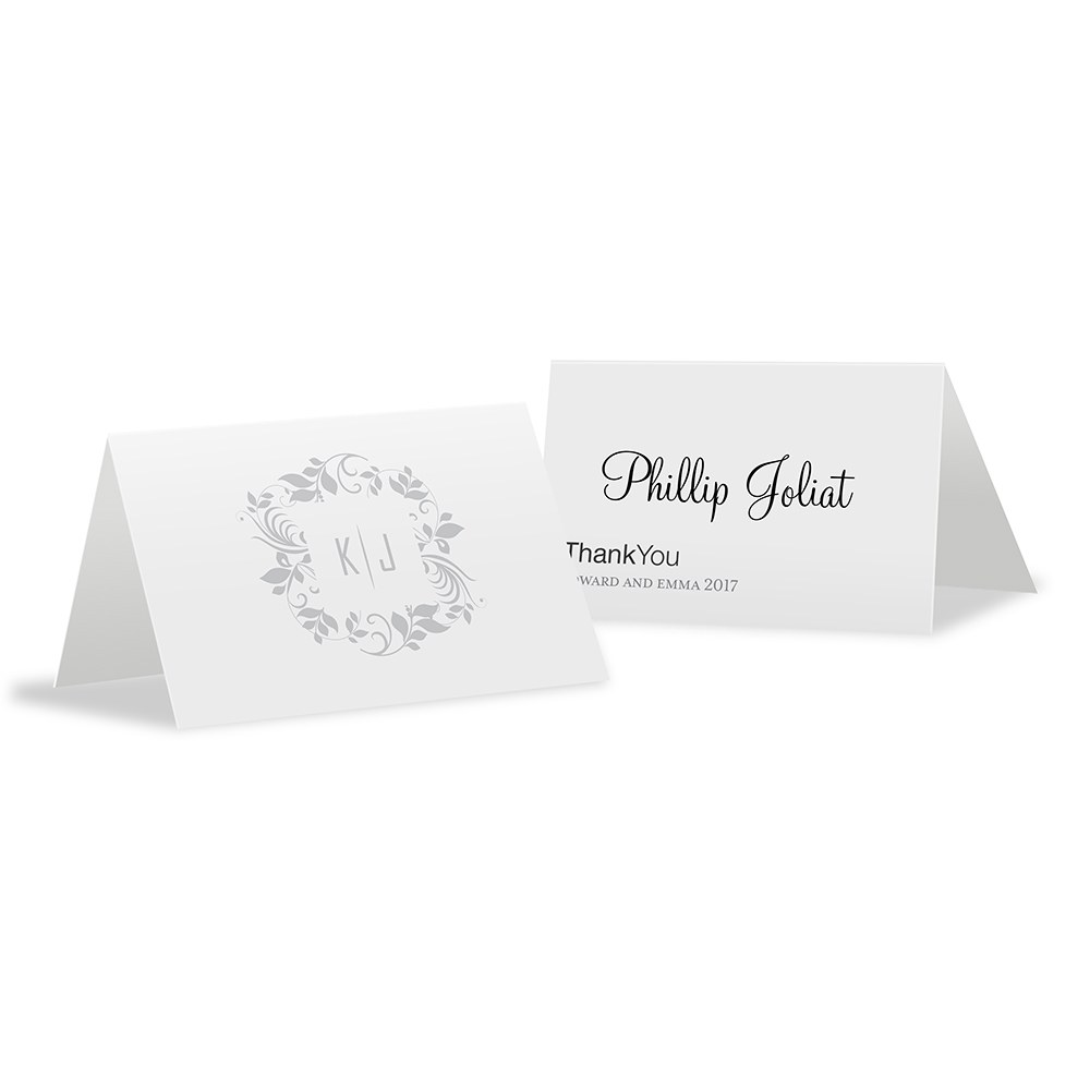 Monogram Simplicity Place Card With Fold   Botanical Wreath