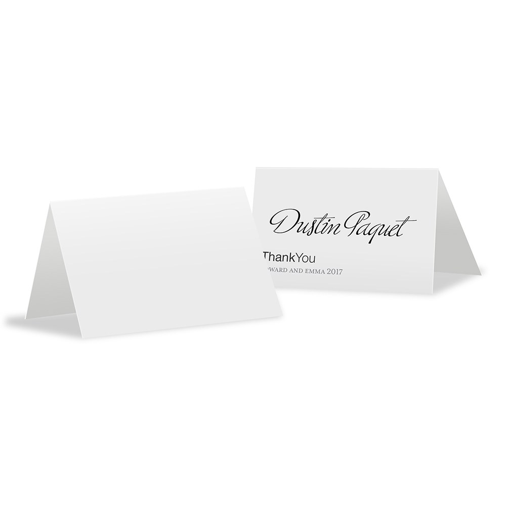 Monogram Simplicity Place Card With Fold   Open Area for Embossing/Stamping