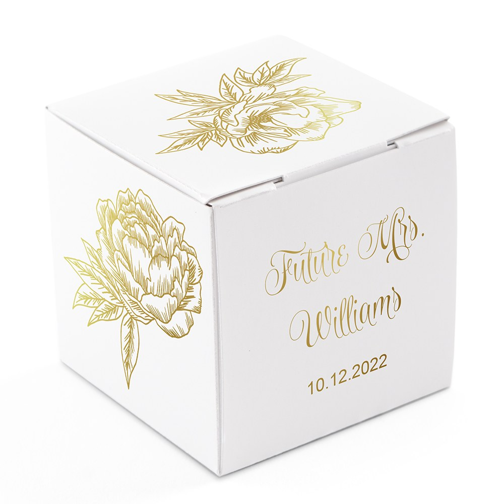 Miniature Custom Foil Printed Square Paper Favor Boxes - Modern Floral
