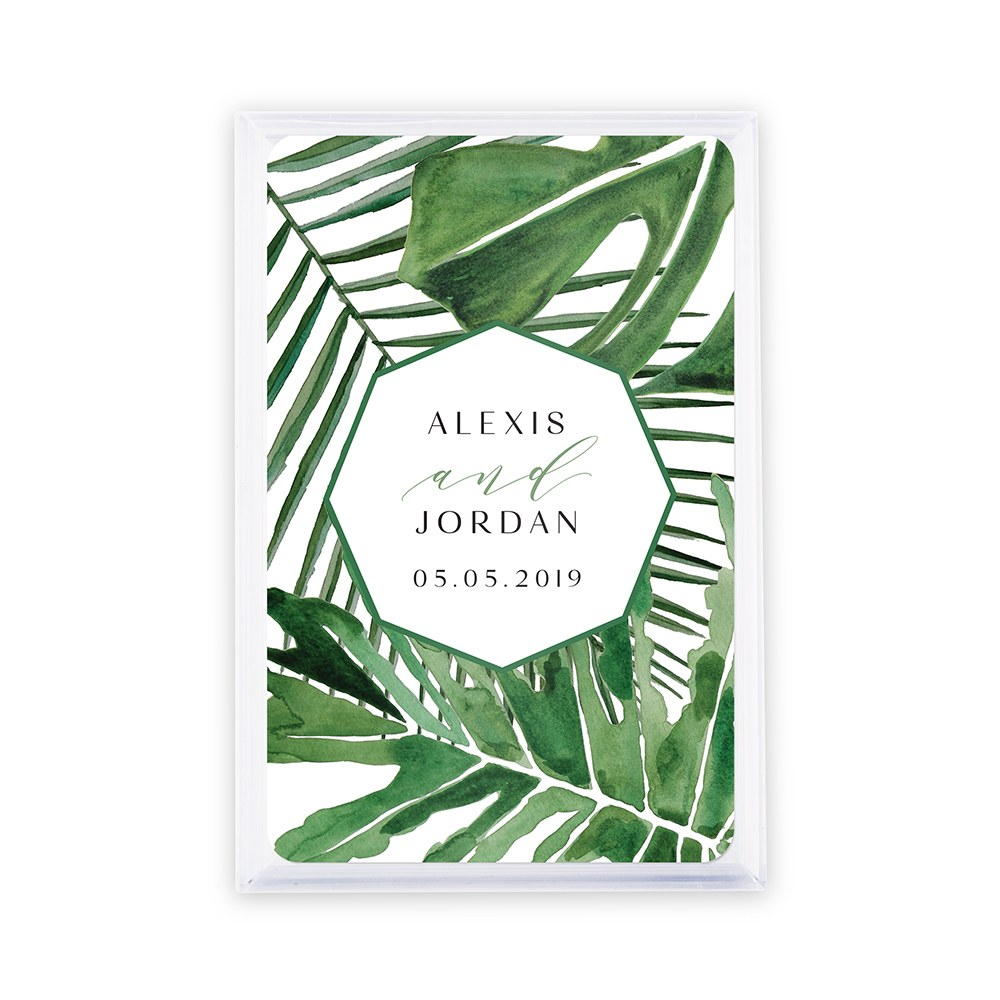 Unique Custom Playing Card Favors - Tropical Leaf