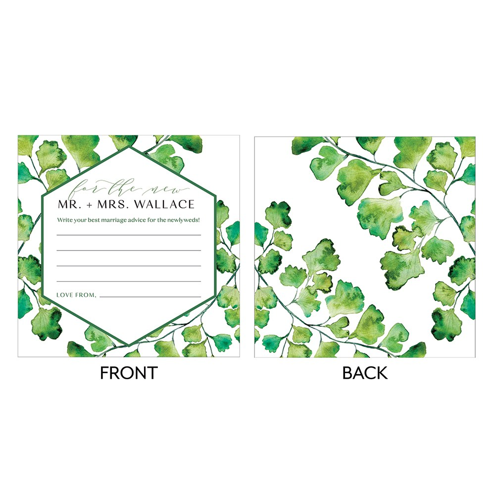 Greenery Memory Box Wedding Libs Wishes / Advice Cards