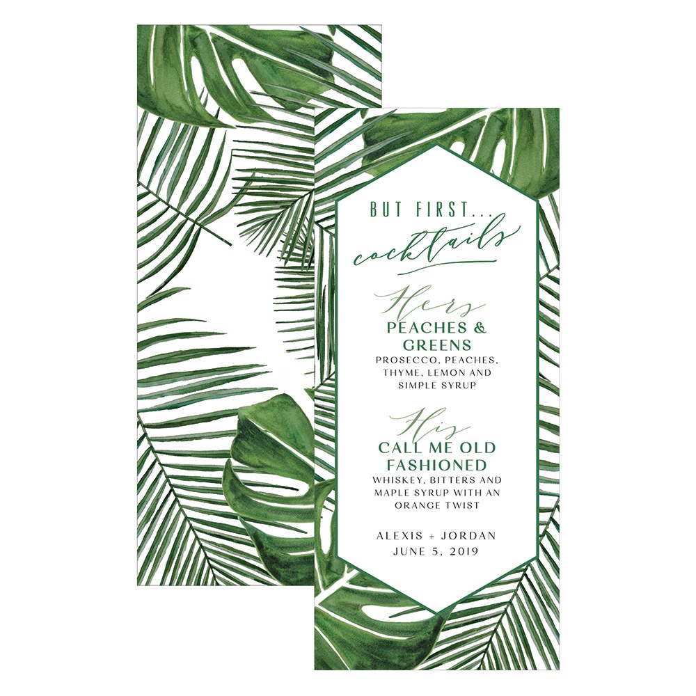 Greenery Cocktails Drink Menu Card