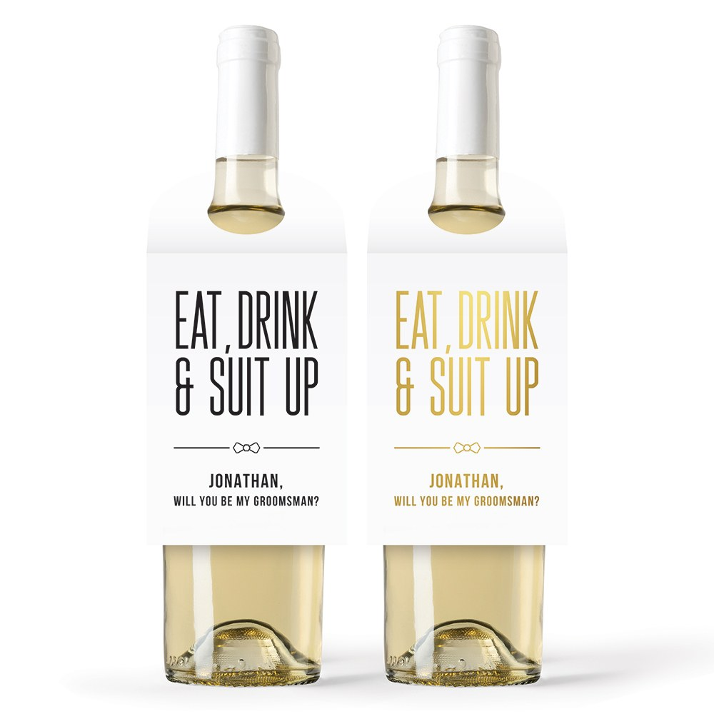 Personalized Wine Bottle Neck Hang Tags - Eat, Drink & Suit Up