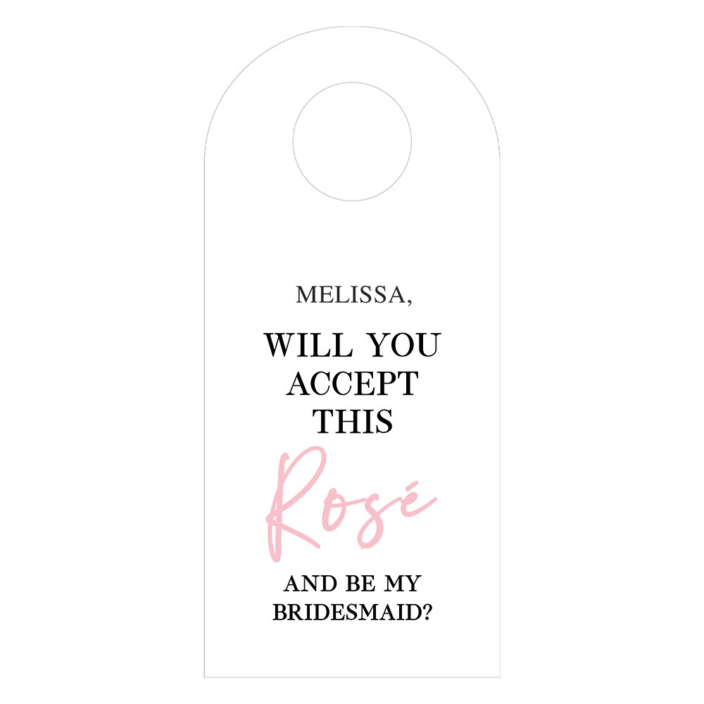 Personalized Wine Bottle Neck Hang Tags - Accept this Rosé