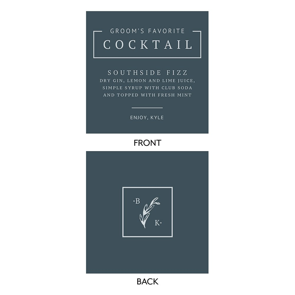 Personalized Signature Cocktail Drink Sign for Groom - Rustic Love