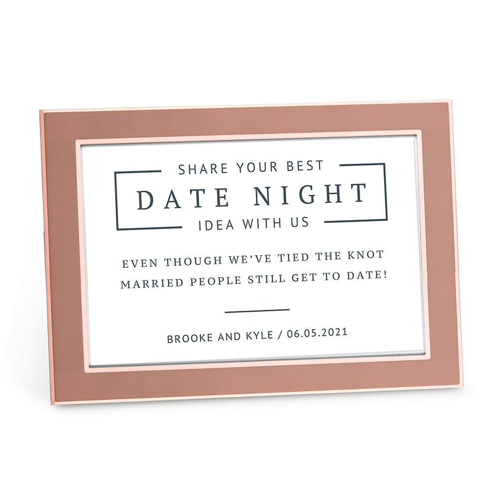 Personalized Date Night Sticker Sign for Wedding Guest Book - Rustic Love