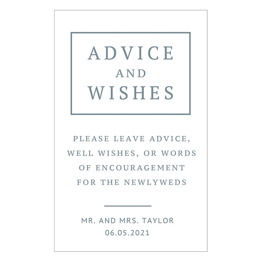 Personalized Advice and Wishes Sticker Sign for Wedding Guest Book - Rustic Love