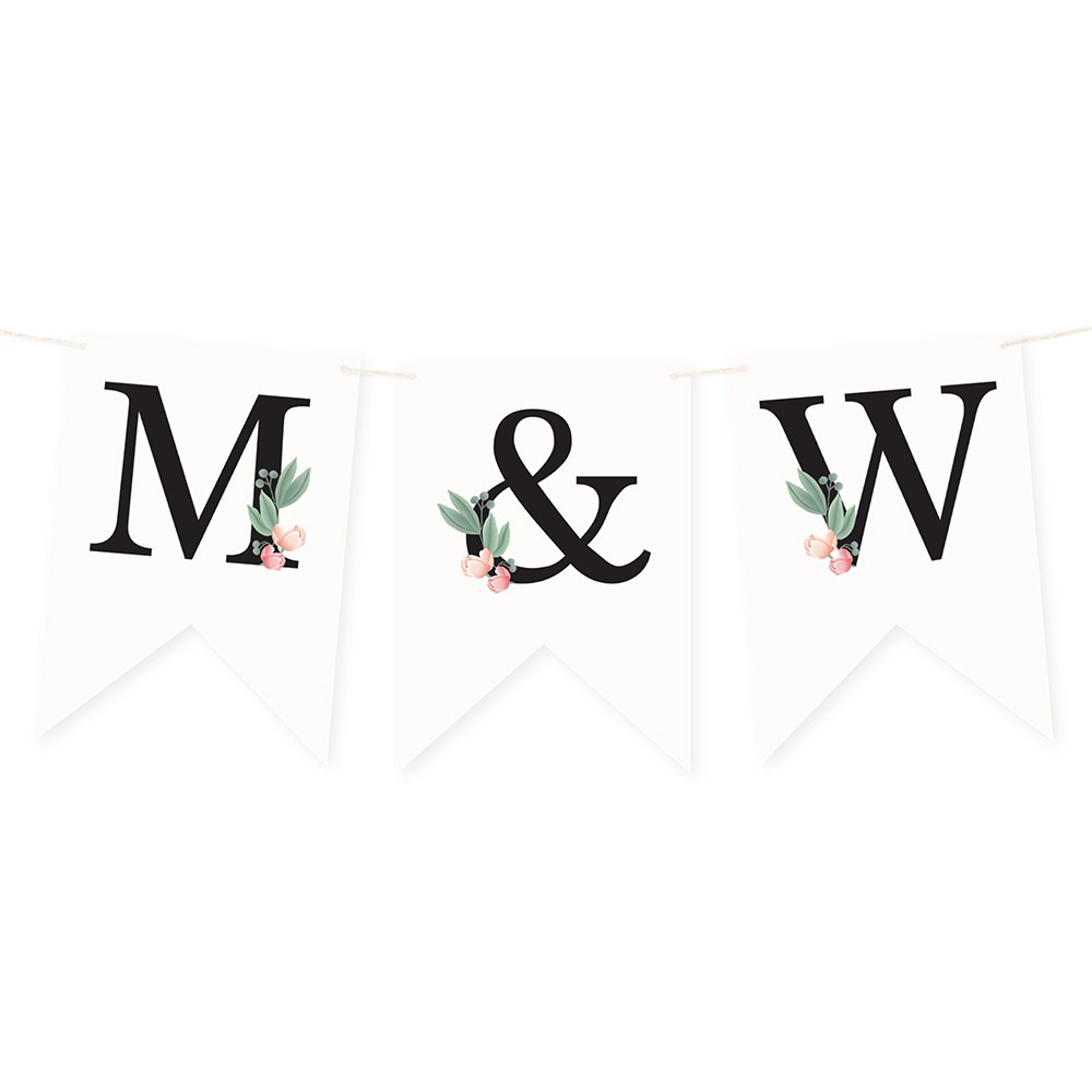 Custom Decorative Pennant Flag Party Bunting Banner - Floral Initial