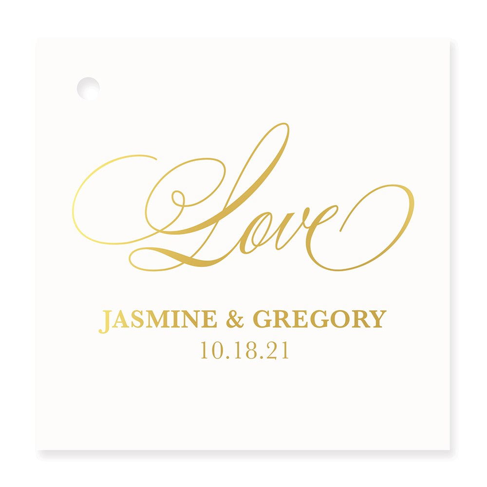 Personalized Metallic Foil Square Favor Tag - Glitz and Glam