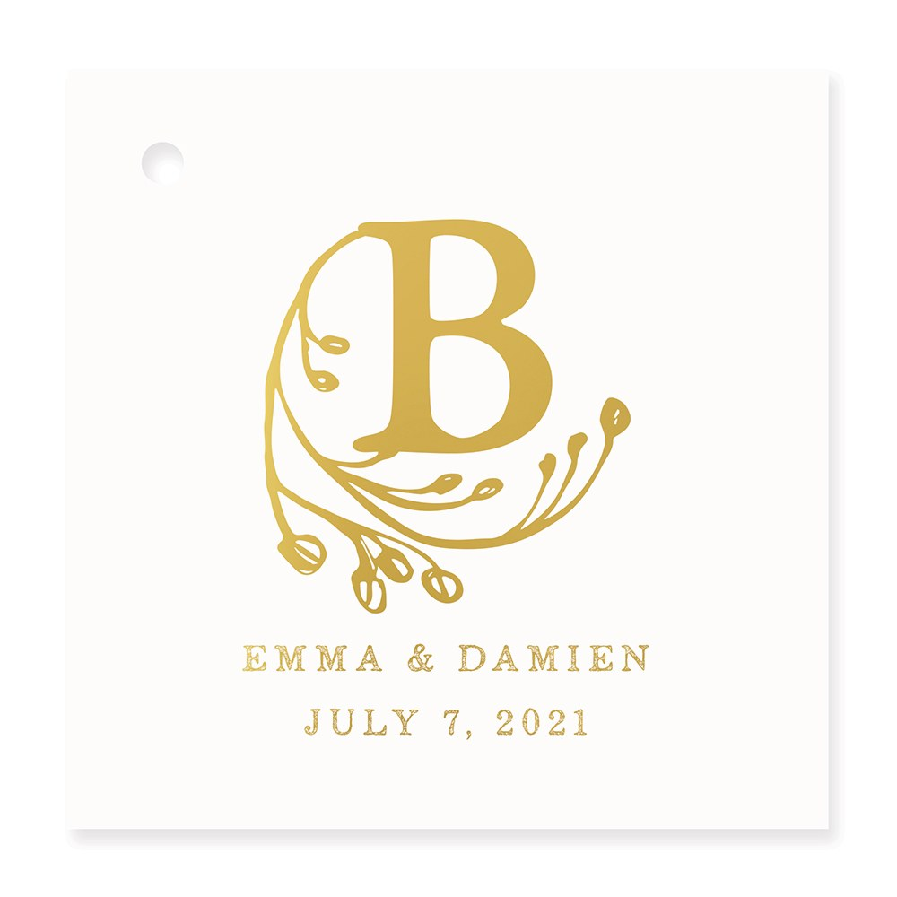 Personalized Metallic Foil Square Favor Tag - Modern Fairy Tale Monogram