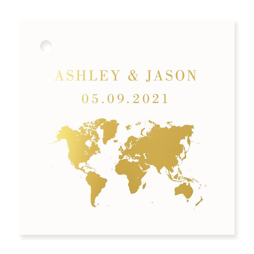 Personalized Metallic Foil Square Favor Tag - Wanderlust Travel